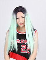 European and American Fashion High Temperature Green Color Straight Wig High-Grade Life