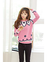 Women's Going out Cute Regular Pullover,Jacquard Blue / Pink / Gray Round Neck Long Sleeve Acrylic Spring / Fall Medium Micro-elastic