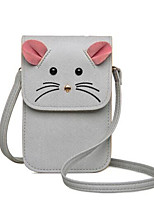 Women PU Casual  Shopping Wallet Mobile Phone Bag Pink Mouse Cross-section Shoulder Bag