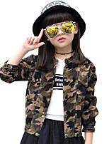 Girl's Cotton Spring/Autumn Fashion Patchwork Long Sleeve Casual Jacket Army Camouflage Coat