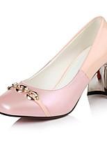 Damen-High Heels-Büro / Lässig-PU-Blockabsatz-Absätze / Quadratische Zehe-Rosa / Weiß