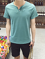Men's Solid Casual T-ShirtRayon Short Sleeve-Black / Blue / Green / White / Gray