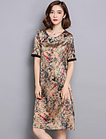 Women's Plus Size Sophisticated Loose Dress,Print Round Neck Above Knee Short Sleeve Green / Yellow / Purple Silk Summer