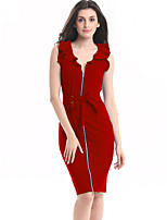 Women's Plus Size / Casual/Daily / Work Street chic Bodycon Dress,Solid V Neck Knee-length Sleeveless