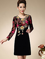 Women's Casual/Daily Simple Sheath Dress,Embroidered Round Neck Above Knee Long Sleeve Red / Orange Polyester Spring
