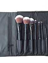 8Pcs Black Wooden Handle Animal Wool Suit Toiletry Kit Colour Makeup