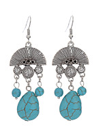 Earring Geometric Drop Earrings Jewelry Women / Girls Vintage / Bohemia Style Daily / Casual Alloy / Silver Plated / Turquoise 1 pair Blue