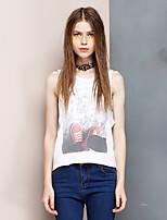 Women's Going out Simple Summer Tank Top,Print Round Neck Sleeveless White Cotton / Modal Thin