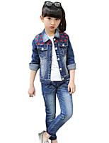 Girl's Cotton Spring/Autumn Fashion Flower Cowboy Long Sleeve Jacket Coat Denim Jeans Pants Two-piece Set Clothes