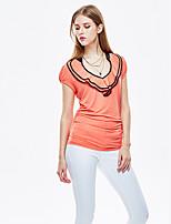 Heart Soul® Women's Round Neck Short Sleeve T Shirt White / Orange-11AA27124