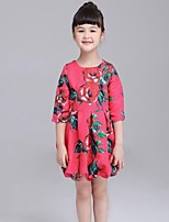 Girl's Casual/Daily Floral DressCotton Spring / Fall Red