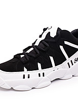 Men's Sneakers Spring / Fall Round Toe / Comfort PU Outdoor / Casual Flat Heel Lace-up Black / Black and White Basketball