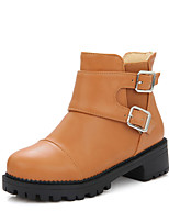 Women's Shoes Winter Motorcycle Boots / Round Toe Boots Casual Low Heel Buckle / Zipper Black / Yellow / Beige