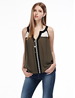 Heart Soul® Women's Off Shoulder Sleeveless T Shirt Green / Dark Green-11AA23394