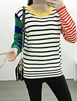 Women's Casual/Daily Street chic Regular Pullover,Striped White Round Neck Long Sleeve Acrylic Fall / Winter Medium
