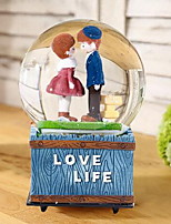 Resin Couple Crystal Ball Music Box Craft Ornaments