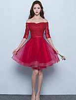 Short / Mini Tulle Bridesmaid Dress - Lace-up A-line Off-the-shoulder with Sash / Ribbon