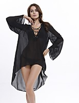 In Farbe Damen Tiefes V Lange Ärmel Asymmetrisch Kleid-9018