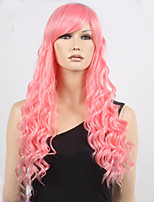 Long Steven Universe Rose Quartz Cosplay Wig Pink Curly Hair Full Wigs