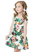 Girl's Cotton Spring/Autumn Print Flower Sundress Sleeveless Princess Dress