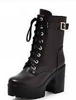 Women's Boots Fall / Winter Fashion Boots / Combat Boots PU Outdoor / Athletic / Casual Flat Heel Lace-up Black Walking