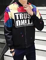Men's Long Sleeve Casual / Plus Sizes Jacket,Polyester Print Black
