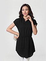 Women's Going out / Plus Size Sexy Sheath Dress,Solid Stand Above Knee Short Sleeve Black Rayon Summer Mid Rise Inelastic