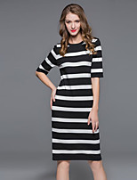MISS FRENCH  Going out / Casual/Holiday Sexy / Simple / Cute Loose Dress,Striped Round Neck Midi ½ Length Sleeve White