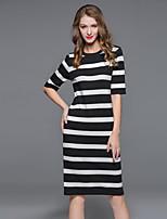 Мисс французский выход / случайный / праздник сексуальный / простой / мило свободно платье, полосатые шею миди ½ длина рукава белый