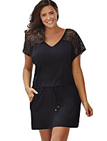 Women's Plus Size / Casual/Daily Sexy Loose Dress,Solid V Neck Above Knee Short Sleeve Black Polyester Summer