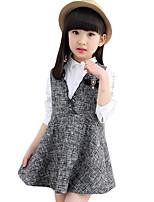 Girl's Casual/Daily Solid Dress,Polyester Summer / Fall Gray