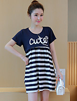 Maternity Casual/Daily Street chic Loose Dress,Striped Round Neck Above Knee Short Sleeve Blue / Red Cotton Summer