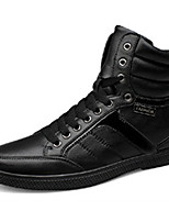 Men's Sneakers Spring / Fall / Winter Round Toe PU Casual Flat Heel Others / Lace-up Black Walking / Others