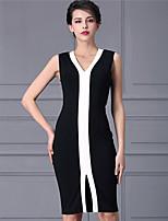 Baoyan® Femme Col en V Sans Manches Au dessus des genoux Robes-160337