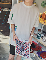 Men's Print Casual / Sport T-Shirt,Cotton Short Sleeve-Green / Red / White