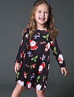 Girl's Party/Cocktail Print DressPolyester Winter / Spring / Fall Black