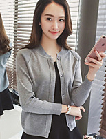 Women's Going out Simple / Cute Short Cardigan,Solid Round Neck Long Sleeve Acrylic Fall
