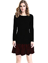 Women's Plus Size / Casual/Daily / Work Street chic Sheath DressPolka Dot Round Neck Above Knee Long Sleeve