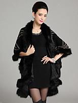 Women's Party/Cocktail Plus Size / Vintage Long Cloak / Capes,Patchwork Red / Beige / Black Wool / AcrylicSpring /