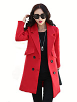 Women's Plus Size / Casual/Daily Street chic Coat,Solid Shirt Collar Long Sleeve Fall Red Polyester Medium