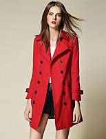 BURDULLY® Damen Hemdkragen Lange Ärmel Trench Coat Rosa / Rot / Khaki / Dunkelblau-5119