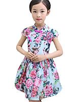 Girl's Casual/Daily Print Dress,Cotton Summer Blue / Pink / Red