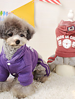 Dog Coat / Hoodie Red / Blue / Purple Winter / Spring/Fall Solid / Letter & Number Casual/Daily Dog Clothes