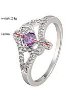 Purple AAA Zircon Fine Statement Ring for Wedding Party