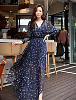 Women's Going out / Beach / Holiday Sexy / Boho / Sophisticated Shift / Sheath Dress,Print V Neck Long Sleeve