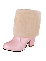 Mujer-Tacón Robusto-Botas a la Moda-Botas-Exterior / Casual / Fiesta y Noche-Semicuero-Negro / Rosa / Blanco