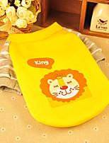 Cães Camiseta Amarelo Primavera/Outono Desenhos Animados Da Moda