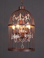 Loft Retro Amercian Industrial Crystal Birdcage Pendant Lamp for the Kids Room / Study Room Chandelier Light