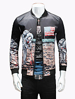 Men's Korean Fashion Personalized Print Casual Slim Fit Jacket; Print/Plus Size/Outdoor