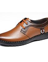 Men's Oxfords Spring / Fall Comfort / Round Toe Cowhide Office & Career Flat Heel Lace-up Black / Brown Walking